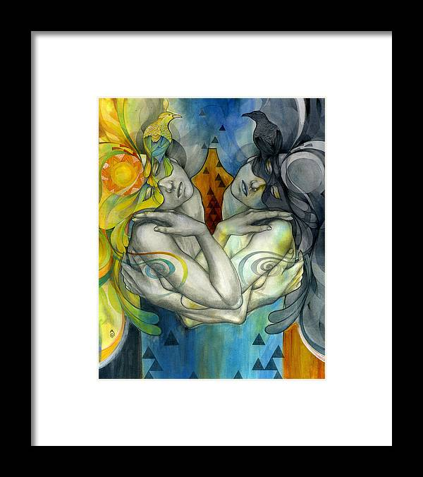Duality Framed Print featuring the painting Duality by Patricia Ariel