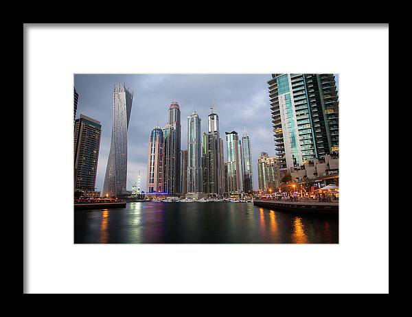 Financial District Framed Print featuring the photograph Dubai Marina Afternoon by Brad Rickerby
