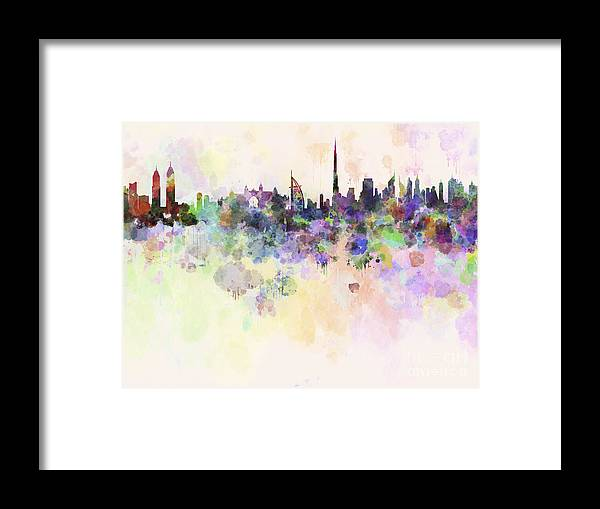 Dubai Skyline In Watercolour Background Framed Print by Pablo Romero