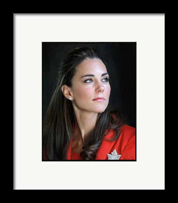 Painting Digital Art Duchess Of Cambridge Duchess Of Cambridge Duchess Of Cambridge Duchess Of Cambridge Kate Middleton Photographs Framed Print featuring the digital art Duchess Of Cambridge by Martin Bailey