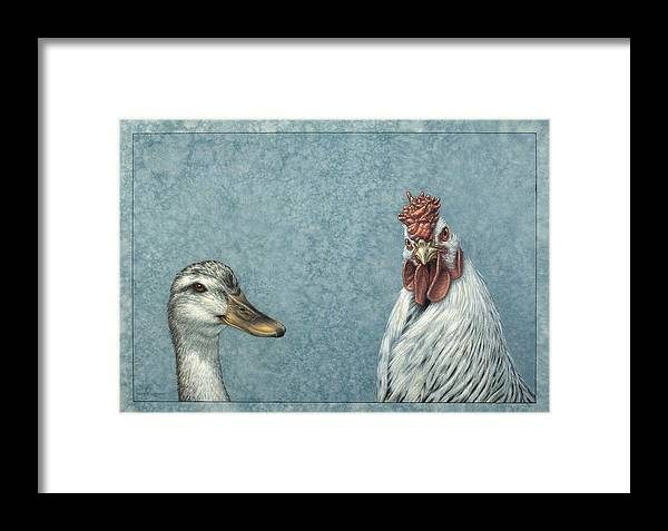 Duck Framed Print featuring the painting Duck Chicken by James W Johnson