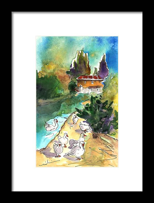 Travel Framed Print featuring the painting Ducks In Avila 01 by Miki De Goodaboom