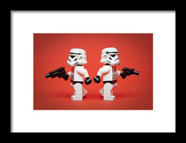 Lego Framed Print featuring the photograph Dueling Troopers by Samuel Whitton