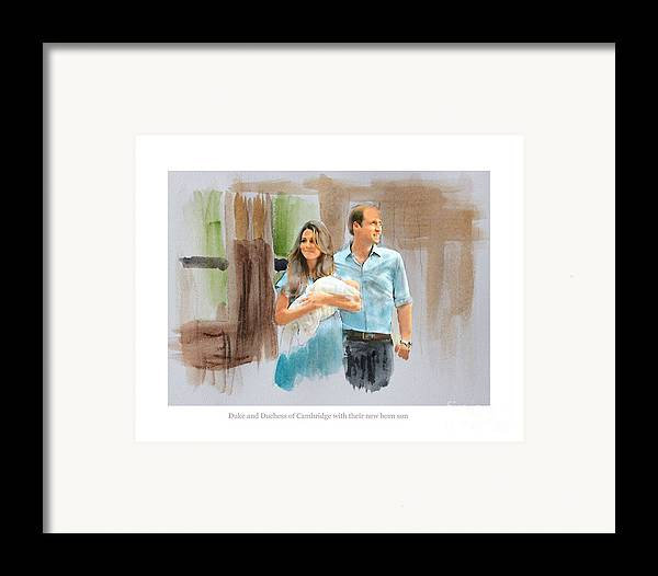 Duke And Duchess Of Cambridge Framed Print featuring the mixed media Duke And Duchess Of Cambridge With Their New Son by Roger Lighterness