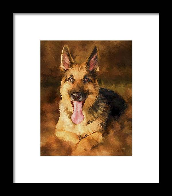German Shepherd Framed Print featuring the painting Duke by David Wagner