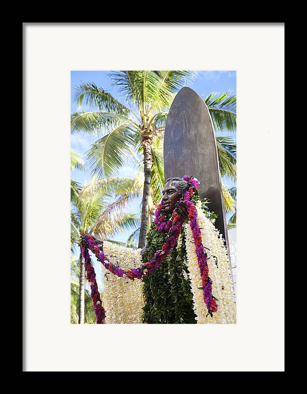 Aloha Framed Print featuring the photograph Duke Kahanamoku Covered In Leis by Brandon Tabiolo