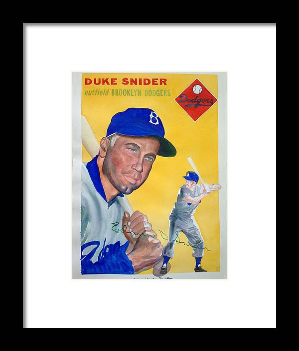 Brooklyn Framed Print featuring the painting Duke Snider by Robert Myers