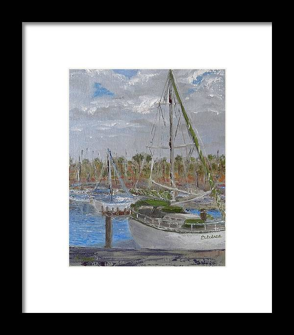 Sailboat Framed Print featuring the painting Dulcinea by Pauly Tamez