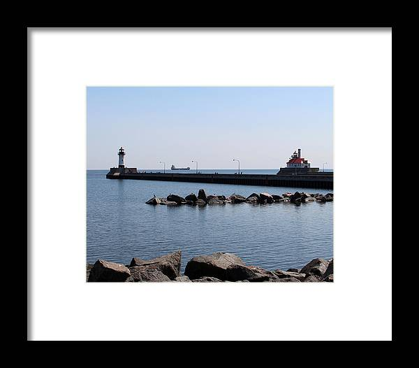 Light Framed Print featuring the photograph Duluth Harbor Lighthouses by George Jones