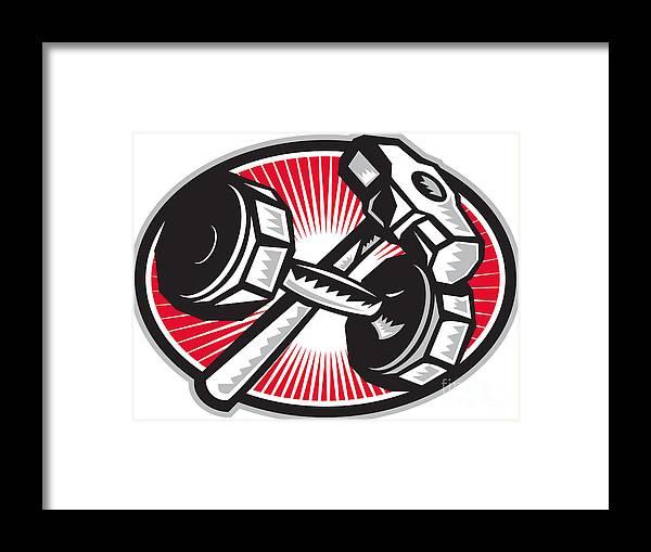 Dumbbell Framed Print featuring the digital art Dumbbell And Sledgehammer Retro by Aloysius Patrimonio