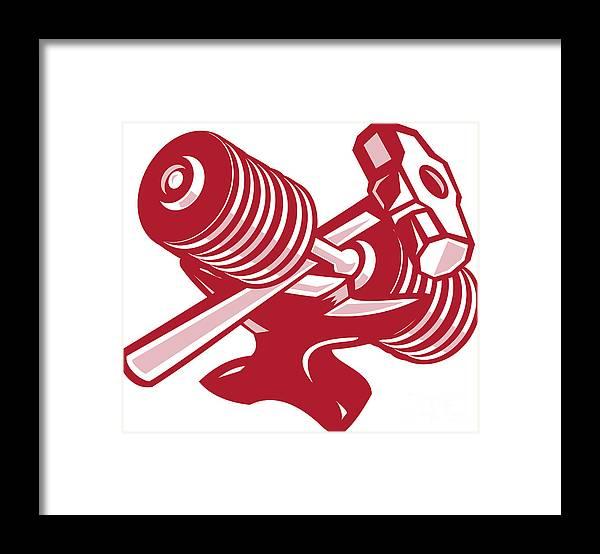 Dumbbell Framed Print featuring the digital art Dumbbell Anvil And Sledgehammer Retro by Aloysius Patrimonio