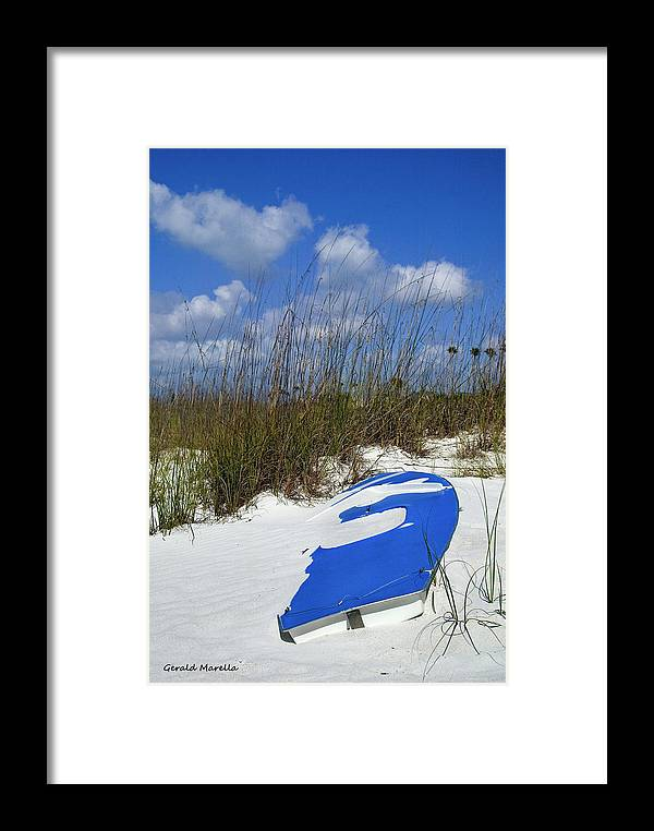 Boat Framed Print featuring the photograph Dune Grass And Boat by Gerald Marella