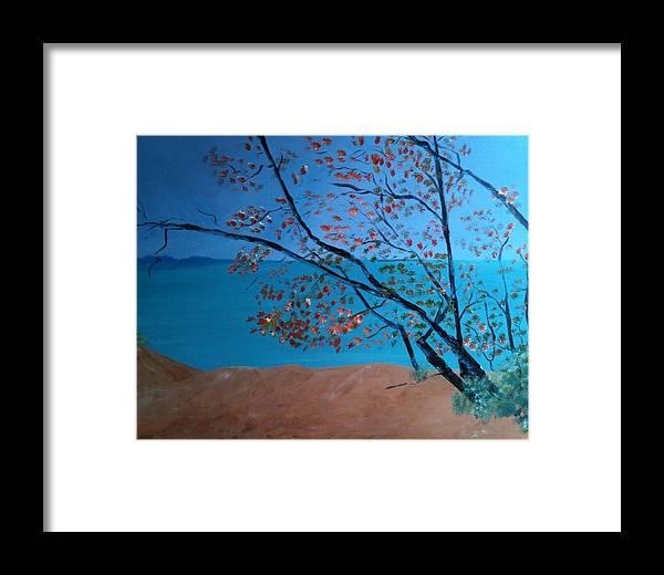 Landscape Framed Print featuring the painting Lake Michigan Dunes by Laura Inniger