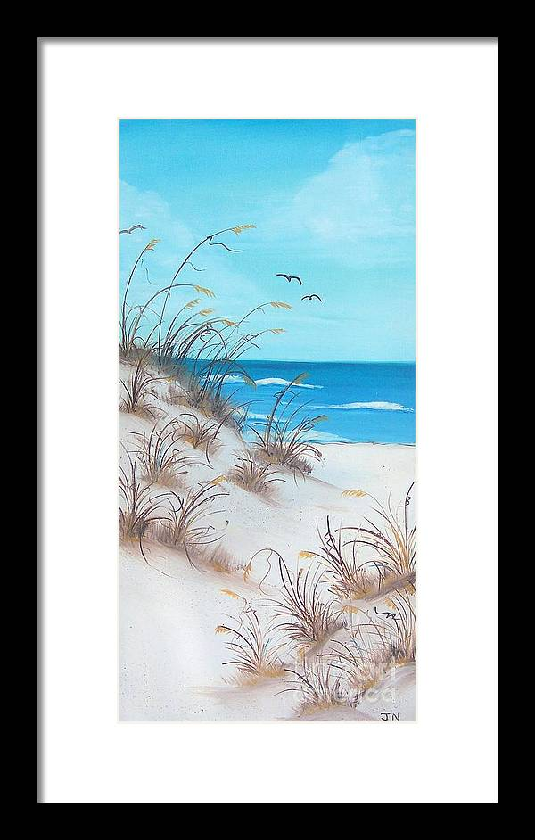 Oil Framed Print featuring the painting Dunes Day by JoNeL Art