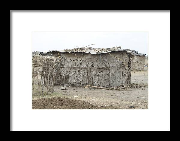 Masai Framed Print featuring the photograph Dung Huts Of The Masai by Michael Schaff