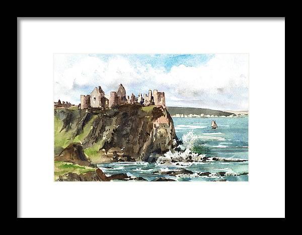 Val Byrne Framed Print featuring the painting Dunluce Castle Antrim N I by Val Byrne