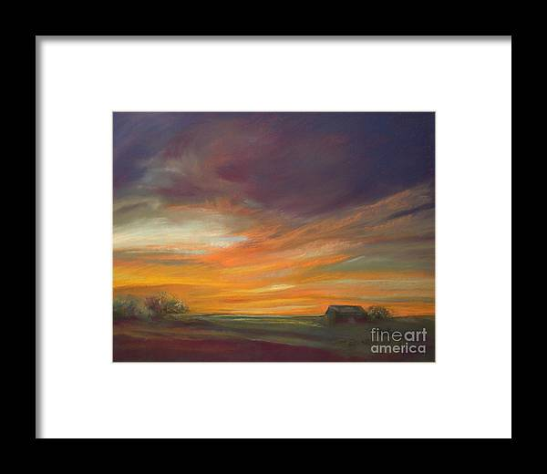 Dusk Framed Print featuring the painting Dusk by Addie Hocynec