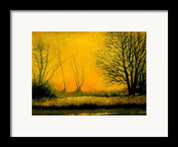 Landscape Framed Print featuring the painting Dusk At The Refuge by Jim Gola