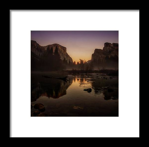 Bridalveil Fall Framed Print featuring the photograph Dusk At Valley View Yosemite National Park by Scott McGuire