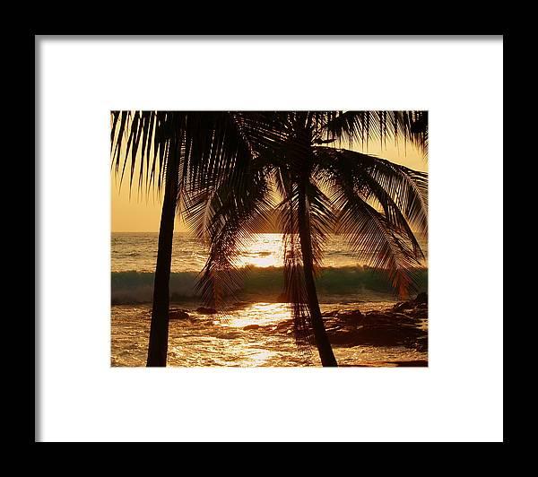 Hawaii# Hawaiian Sunset Framed Print featuring the photograph Dusk by Athala Bruckner