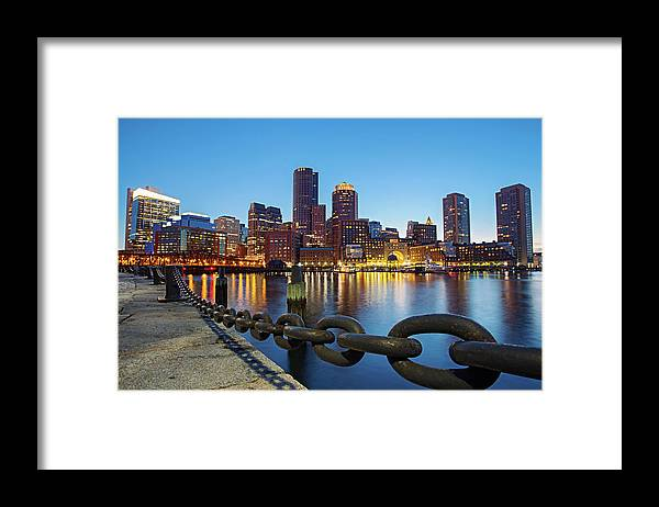 Clear Sky Framed Print featuring the photograph Dusk In Boston by Photography By Nick Burwell