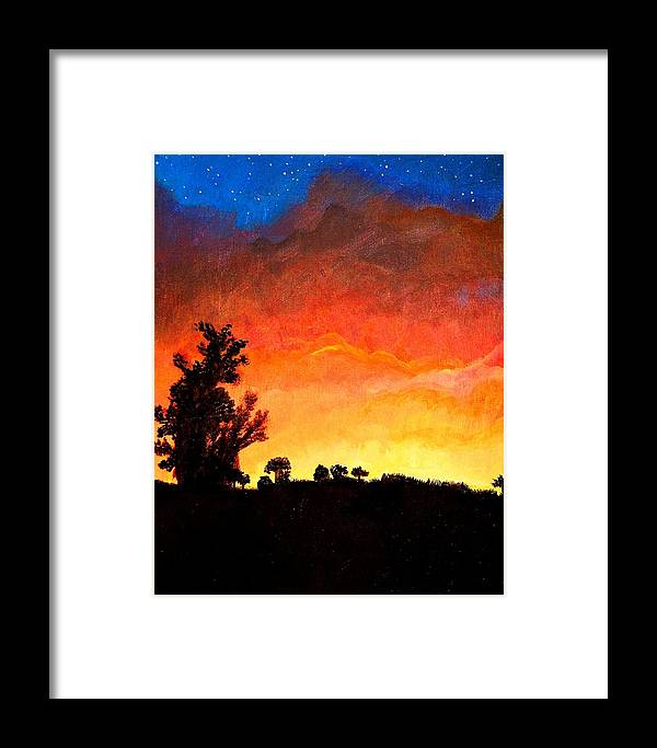 Stars Framed Print featuring the painting Dusk by Victoria Rhodehouse