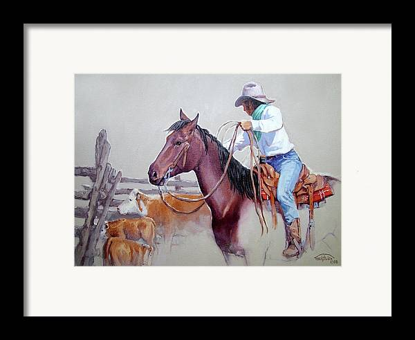 Cowboy Framed Print featuring the painting Dusty Work by Randy Follis