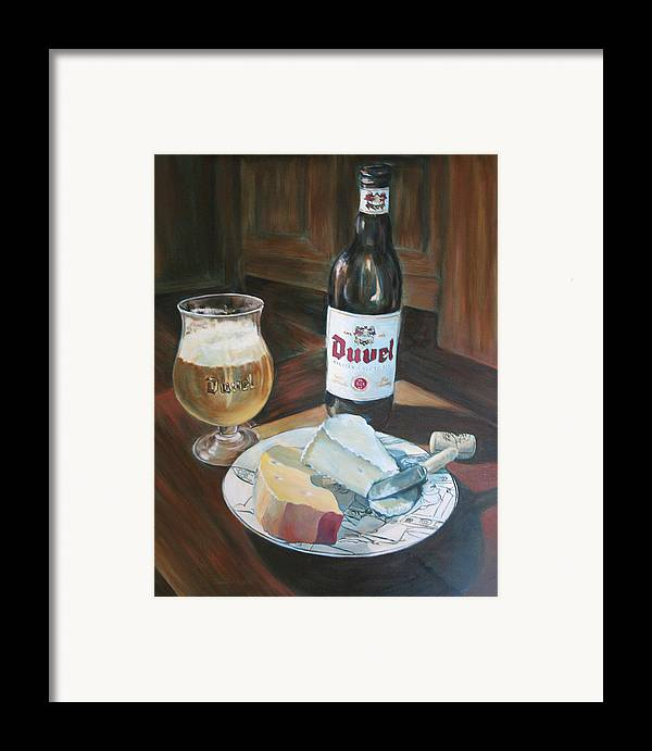 Cheese Framed Print featuring the painting Duvel And Cheese Plate by Jennifer Lycke
