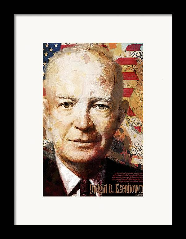 Ike Framed Print featuring the painting Dwight D. Eisenhower by Corporate Art Task Force