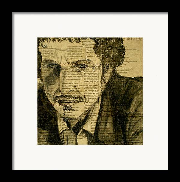 Dylan The Poet Framed Print featuring the drawing Dylan The Poet by Debi Starr