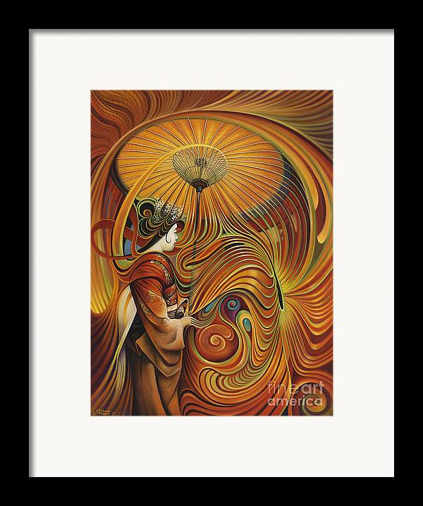Dynamic Framed Print featuring the painting Dynamic Oriental by Ricardo Chavez-Mendez