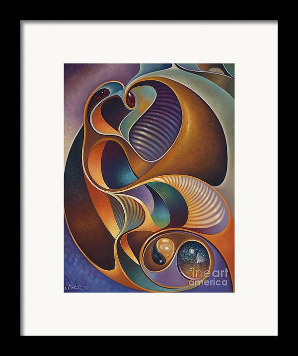 Ying-yang Framed Print featuring the painting Dynamic Series #23 by Ricardo Chavez-Mendez
