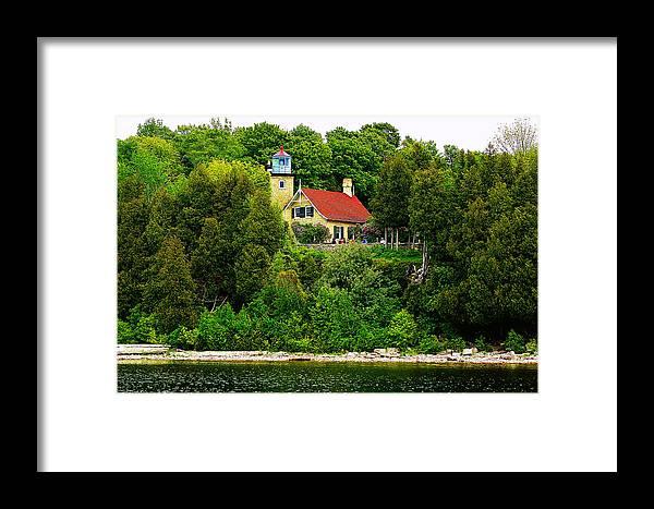 Eagle Bluff Lighthouse Framed Print featuring the photograph Eagle Bluff Lighthouse Of Door County  by Carol Toepke