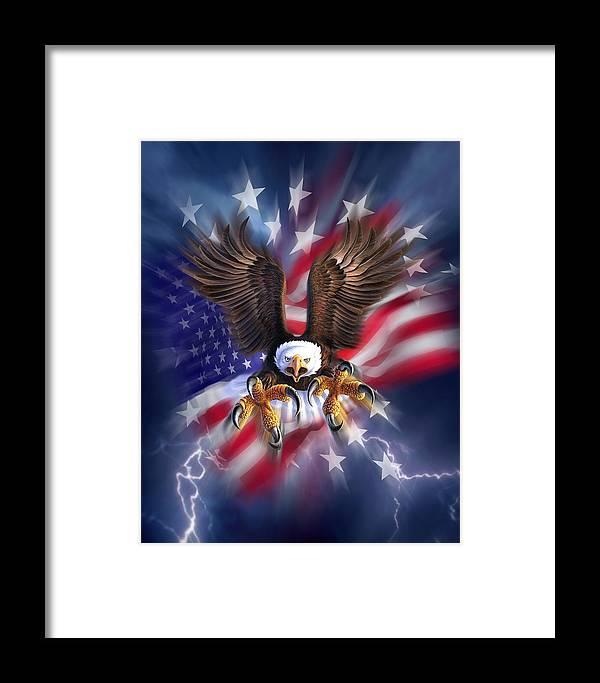Eagle Framed Print featuring the digital art Eagle Burst by Jerry LoFaro