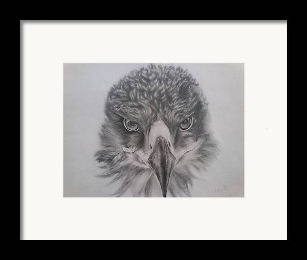 Eagle Framed Print featuring the drawing Eagle by Lucy D