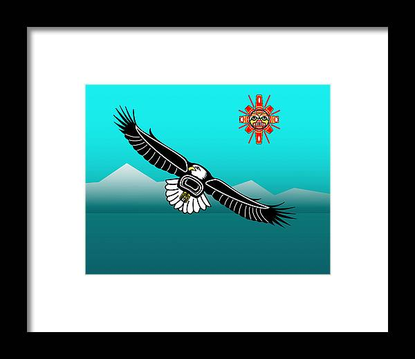 Haida Point Art Framed Print featuring the drawing Eagle Over Olympics by Fred Croydon