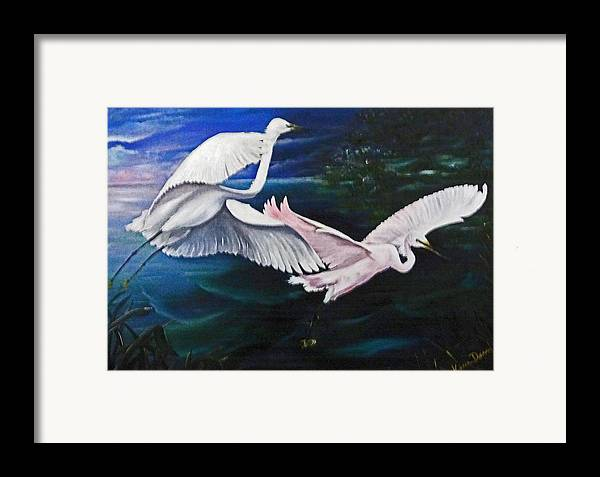 Snowy Egrets Framed Print featuring the painting Early Flight by Karin Dawn Kelshall- Best