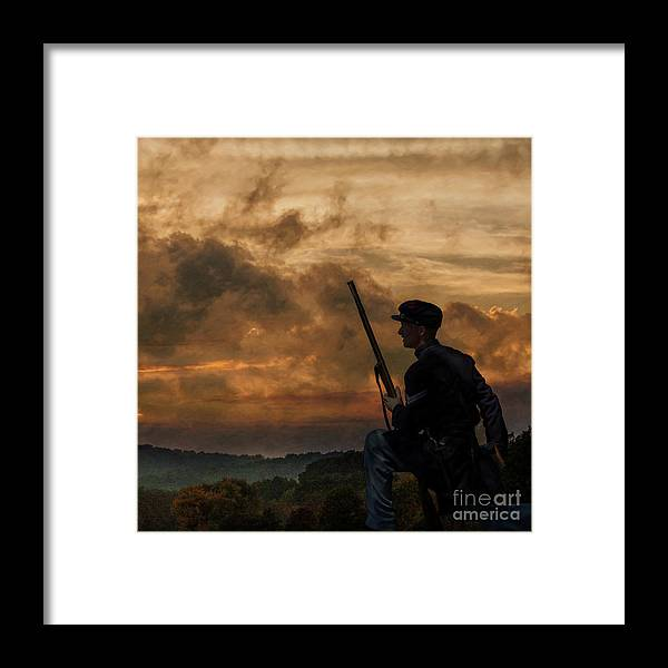 Early Morning Picket Duty Framed Print featuring the digital art Early Morning Picket Duty Union Soldier by Randy Steele