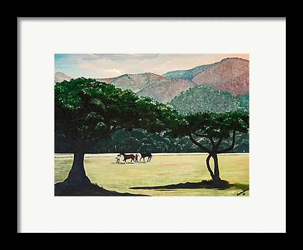 Trees Framed Print featuring the painting Early Morning Savannah by Karin Dawn Kelshall- Best