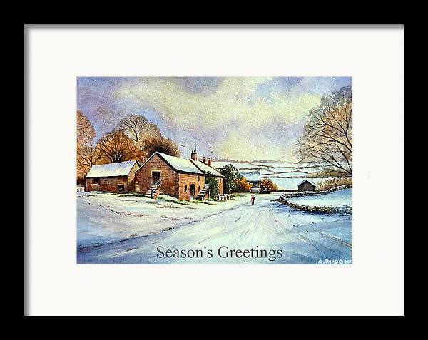 Greeting Cards Framed Print featuring the painting Early Morning Snow Christmas Cards by Andrew Read