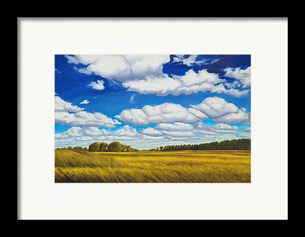 Wheat Framed Print featuring the painting Early Summer Clouds by Leonard Heid