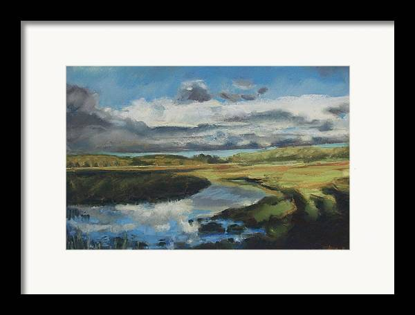 Maine Framed Print featuring the pastel Earth Air Water by Grace Keown