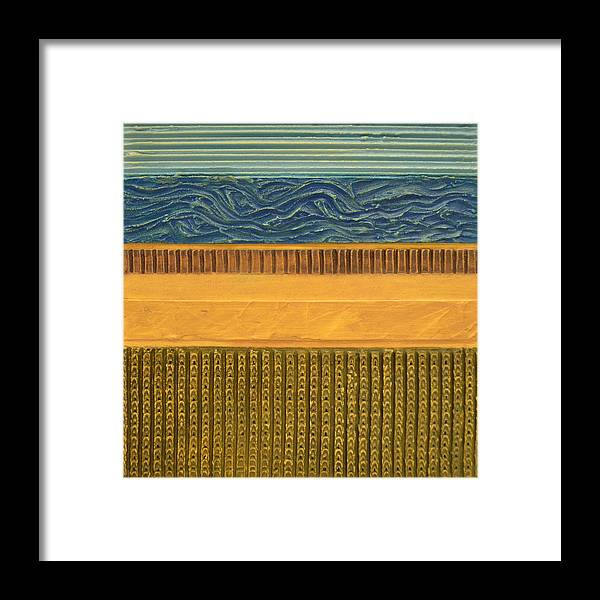 Abstract Framed Print featuring the painting Earth Layers Abstract L by Michelle Calkins