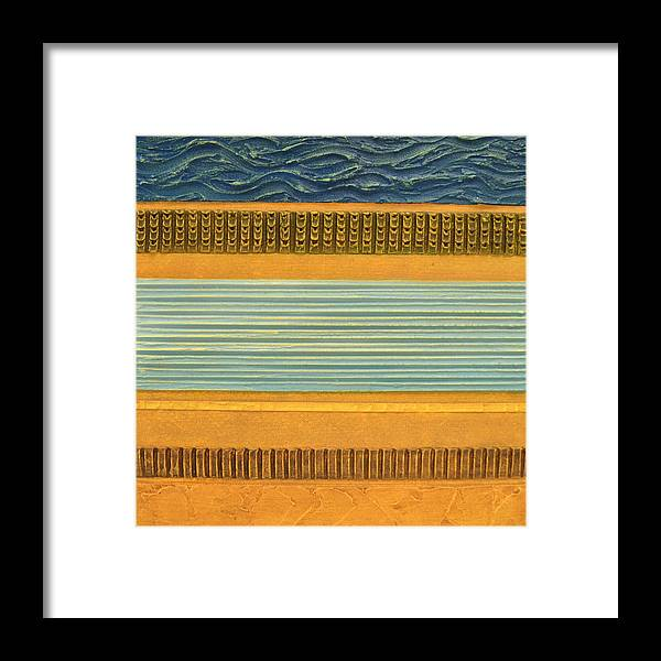 Abstract Framed Print featuring the painting Earth Layers Abstract Ll by Michelle Calkins