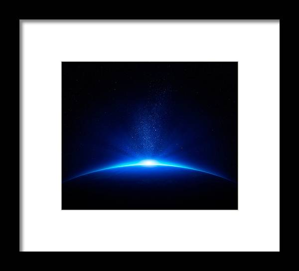 Earth Framed Print featuring the photograph Earth Sunrise In Space by Johan Swanepoel