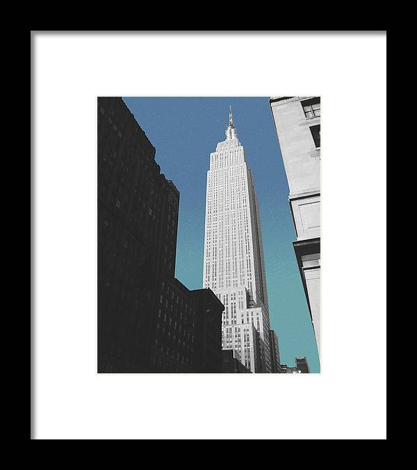 Empire State Building. Buildings. City Buildings. 34th Street Framed Print featuring the photograph East 34th Street by David Klaboe