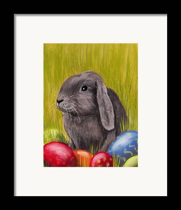 Rabbit Framed Print featuring the painting Easter Bunny by Anastasiya Malakhova