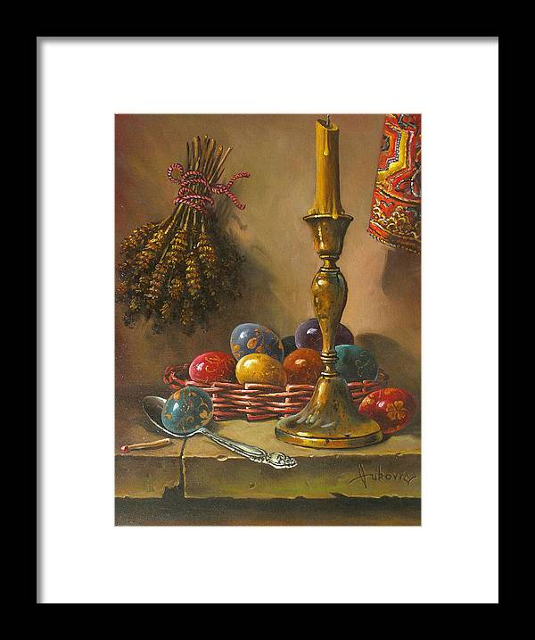 Still Life Framed Print featuring the painting Easter - Decorating Eggs by Dusan Vukovic