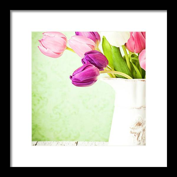 Mother's Day Framed Print featuring the photograph Easter Tulips And Copy Space by Catlane