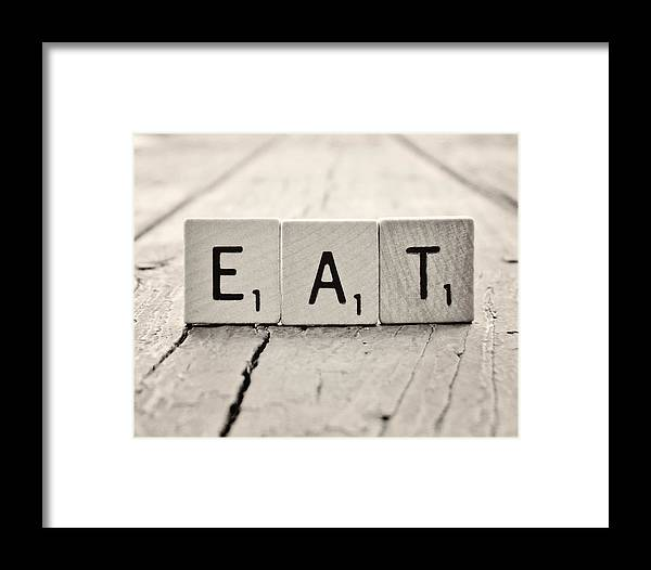 Eat Scrabble Photograph Framed Print featuring the photograph Eat by Amanda Dunlap